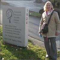Ann Scheidler outside Atlanta's Feminist Women's Health Center abortion facility