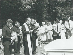 Cardinal Joseph Bernardin celebrates the burial Mass for thousands of aborted unborn babies in 1988.